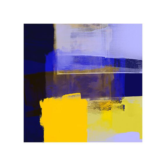Blue And Yellow Abstract Art Print Contemporary Art by COLOURMAN ...