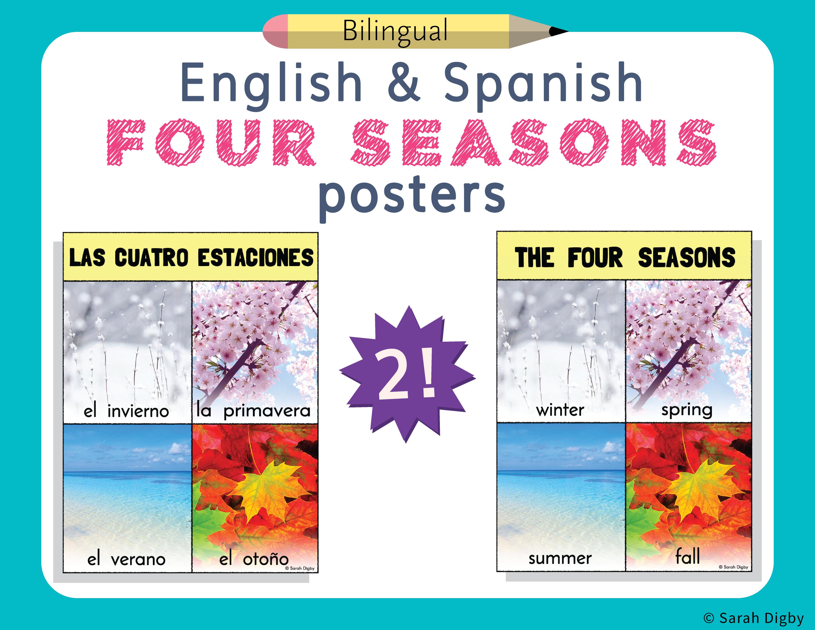 Spanish And English Four Seasons Cuatro Estaciones