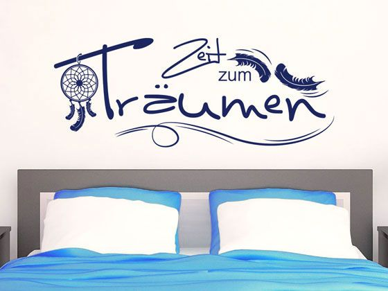 wandtattoo f r schlafzimmer wandtatoo aufkleber spruch zeit zum tr umen wanddeko im schlafzimmer. Black Bedroom Furniture Sets. Home Design Ideas