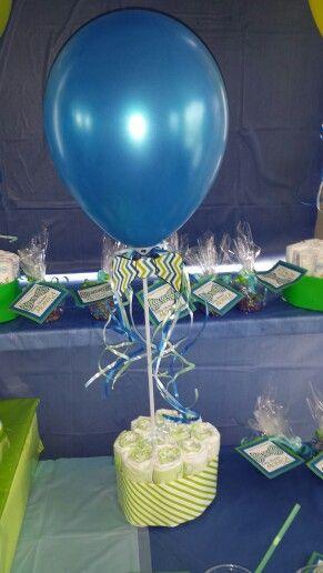 Balloon centerpiece bowtie babyshower my little projects