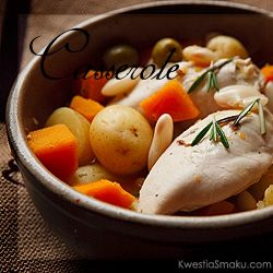 Dish from one pot, casserole with potatoes, chicken, pumpkin and olives