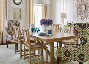 Dining Room with Purple Flowers| Andrew Howard Interior Design