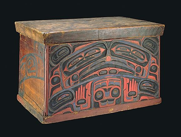 A Red Cedar Bentwood Haida Storage Chest Carved And Painted With The  Protective Image Of Konankada