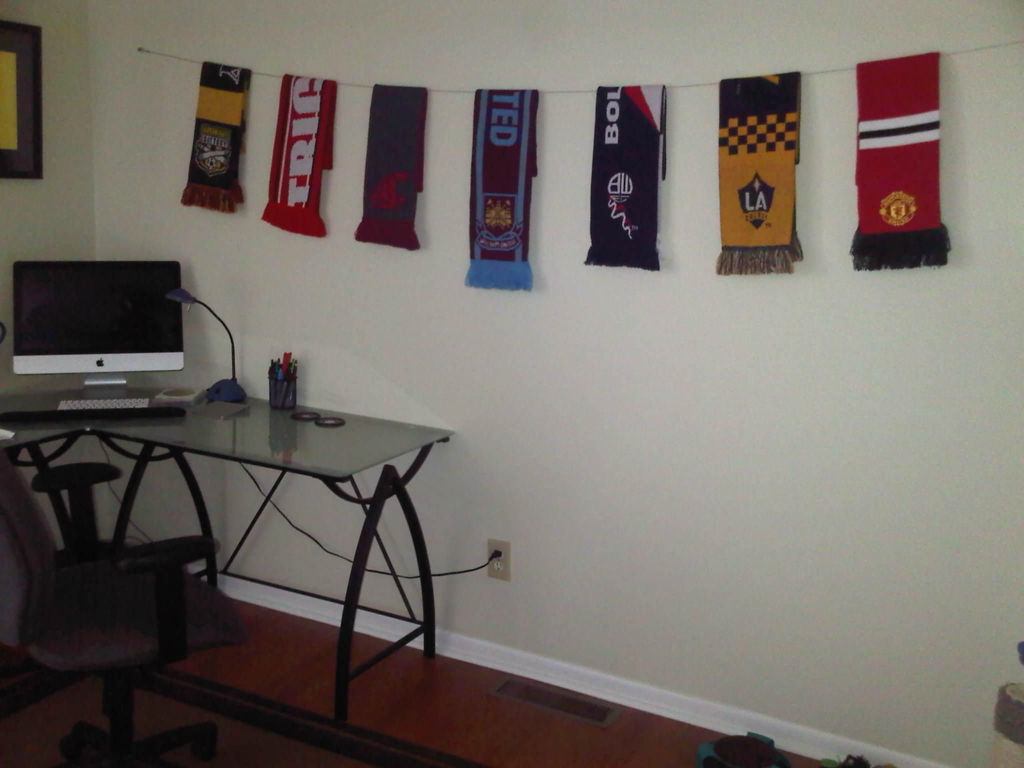 Soccer Bedroom Ideas Great Way To Display Soccer Scarves  For The Home  Pinterest