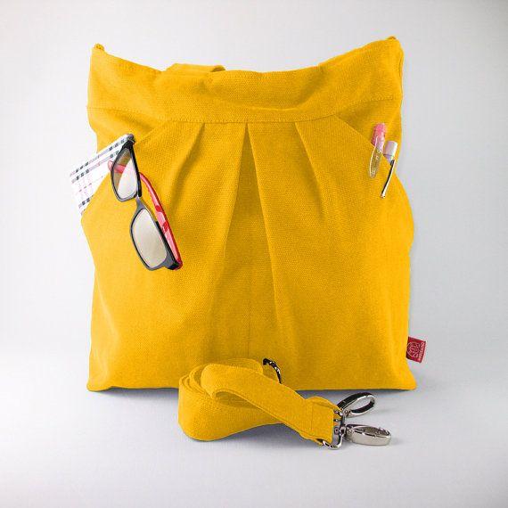 Yellow Two Big Pocket Large Bag Zipper Closed