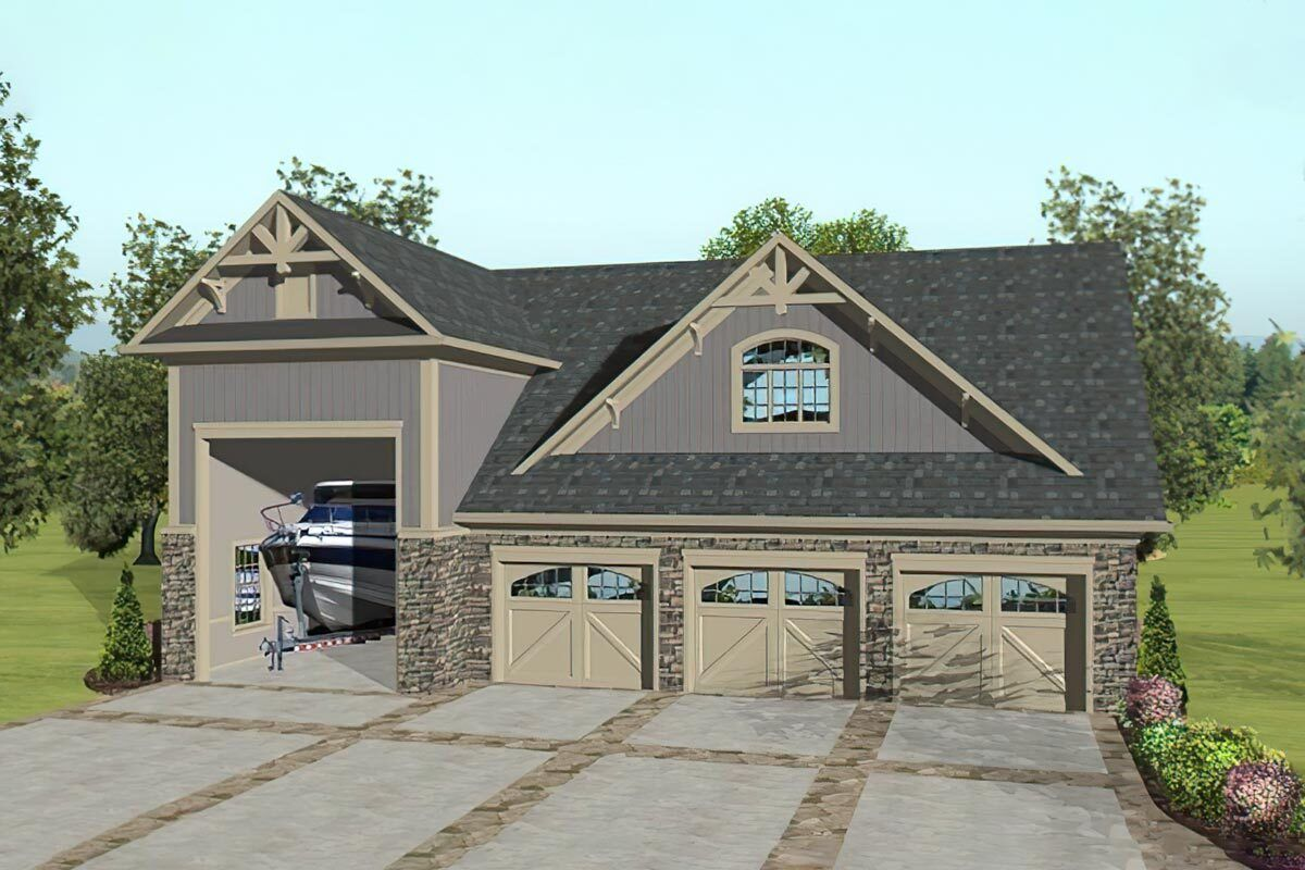 Plan 20133ga Rv Garage With Apartment Above Carriage House Plans Craftsman Style House Plans Garage Shop Plans