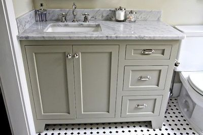 Gray Green Bathroom Vanity With Marble Top. / Bath Ideas   Juxtapost