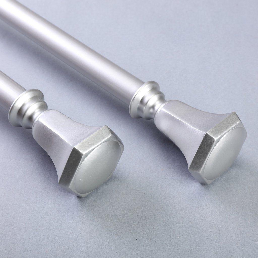 42 126 1 Dia Adjustable Curtain Rod Set Silver Teardrop