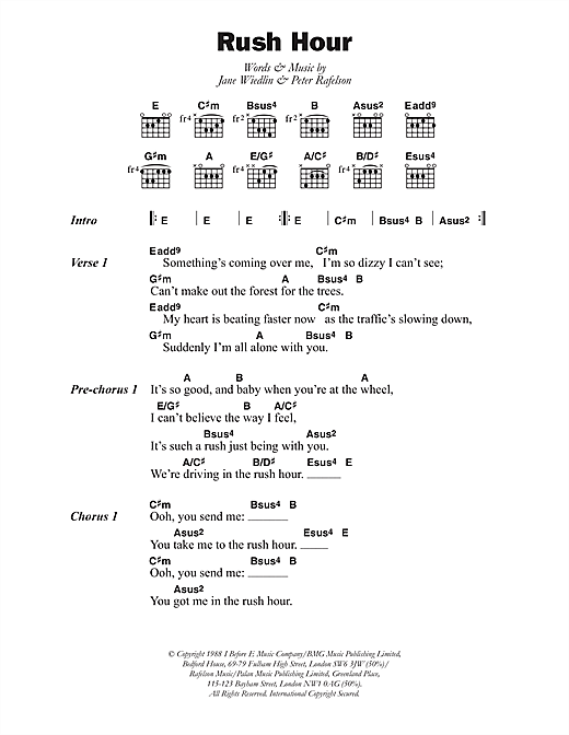 Download Jane Wiedlin Rush Hour Sheet Music Notes And Chords For