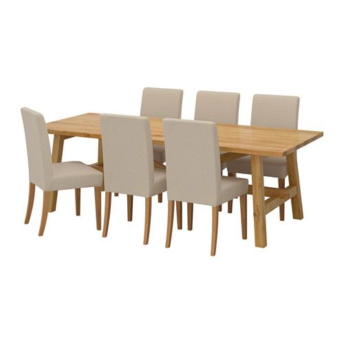 Ikea MÖckelby Henriksdal Table And 6 Chairs Every Is Unique With Varying Grain Pattern Natural Color Shifts That Are Part Of The Charm