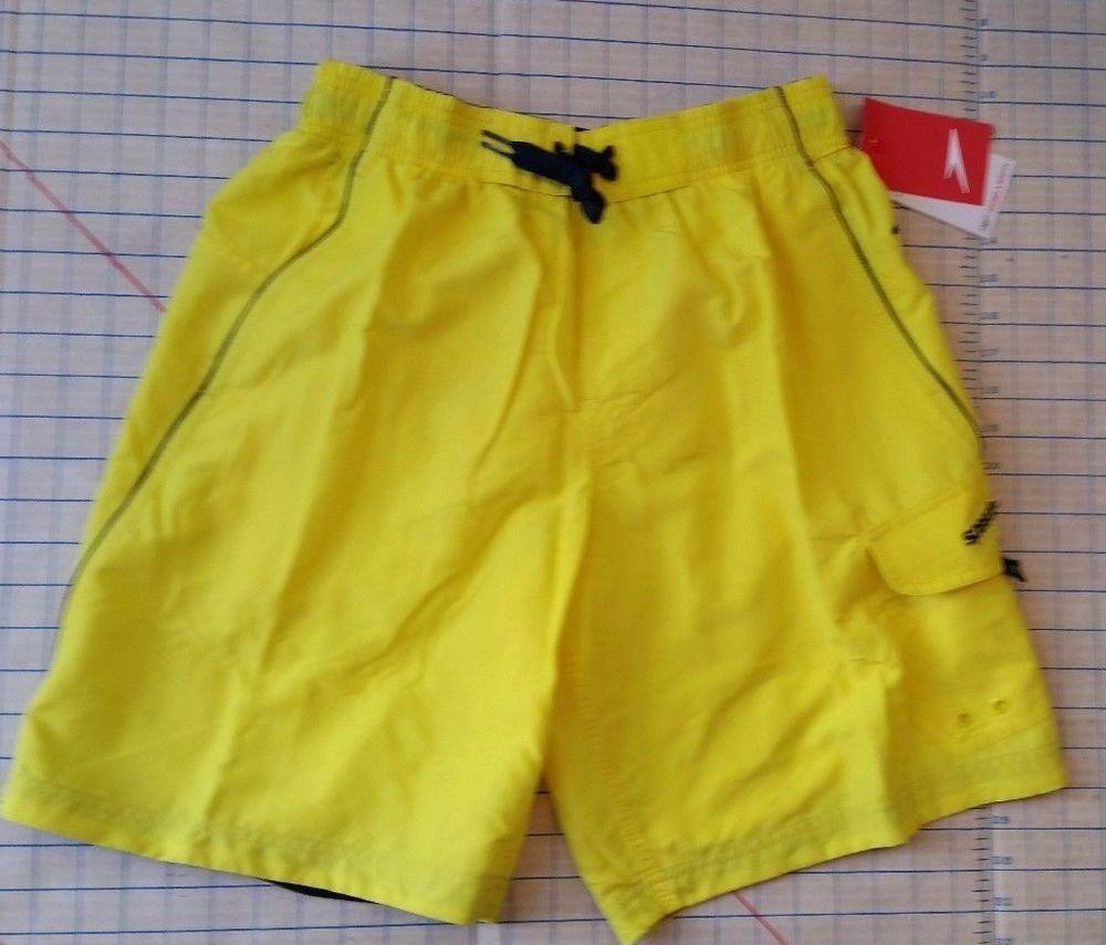 468f6f70676ed Mens Speedo Marina Volley Swim Trunk Board Swimsuit Yellow UPF 50 sz S small  #Speedo #Trunks