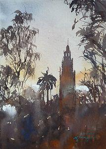 Balboa Park Sunset San Diego Ii By Keiko Tanabe Watercolor 11 1
