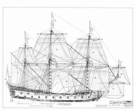 HMS Mordaunt 1681 preparation of model sailing freely