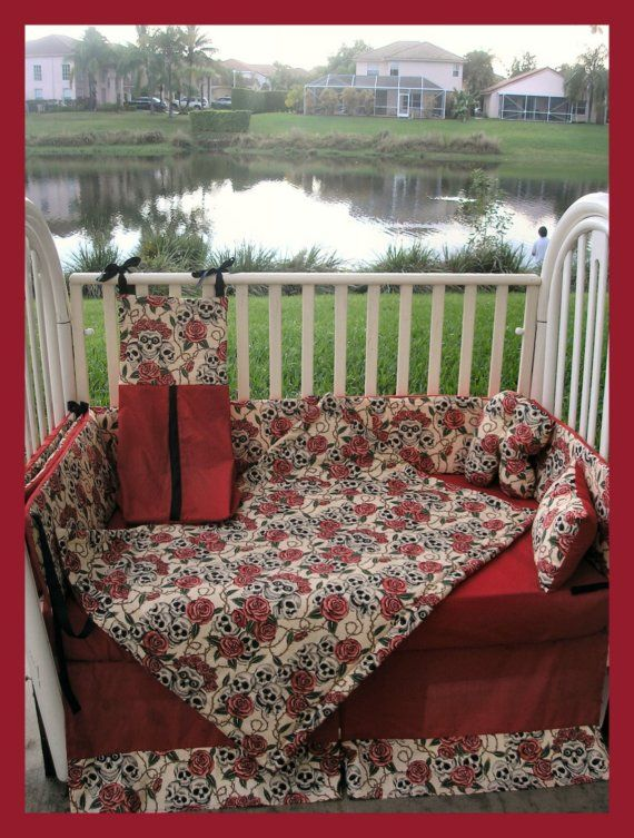 NEW baby crib bedding set in gothic punk tan and red by GothBabies, $275.00