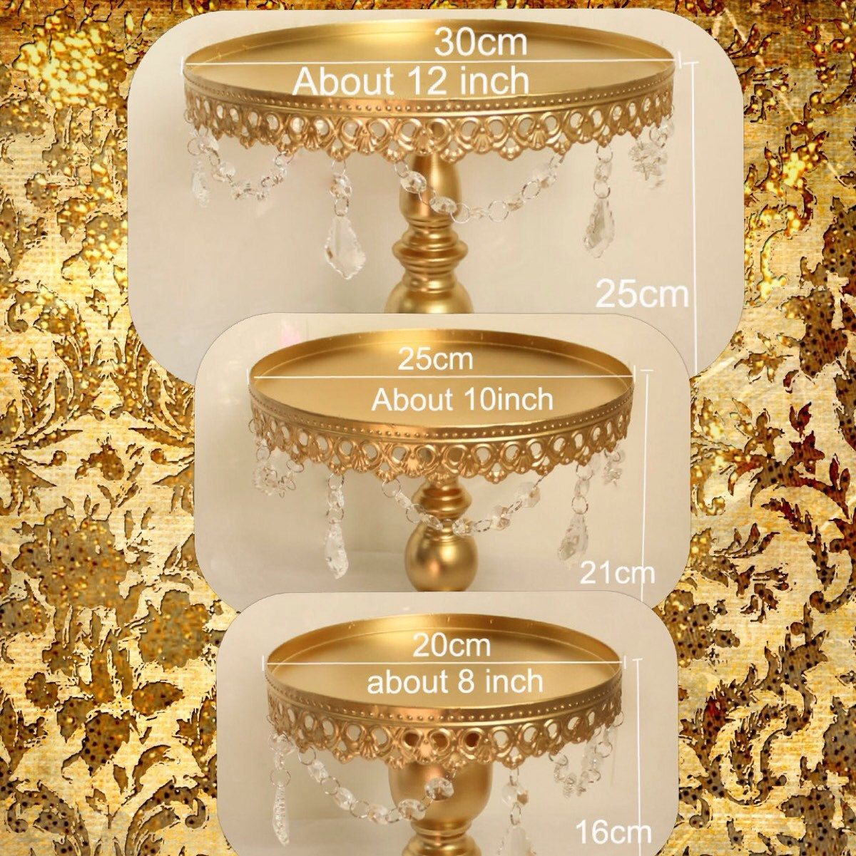 New Arrival 3 Pieces Cake Stands In Gold 3 Different Sizes In This Set.  Perfect