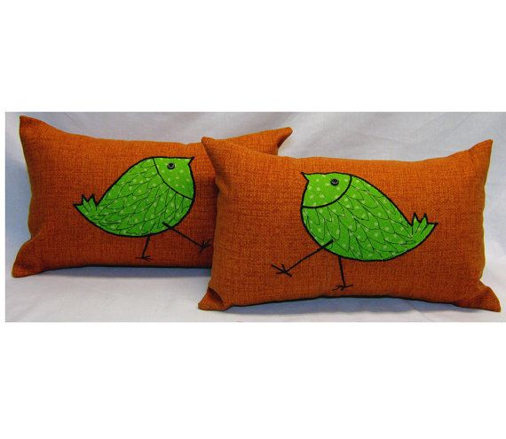 Two Outdoor Pillow Covers 12 x 18 from orange sun and by LenkArt, $55.00