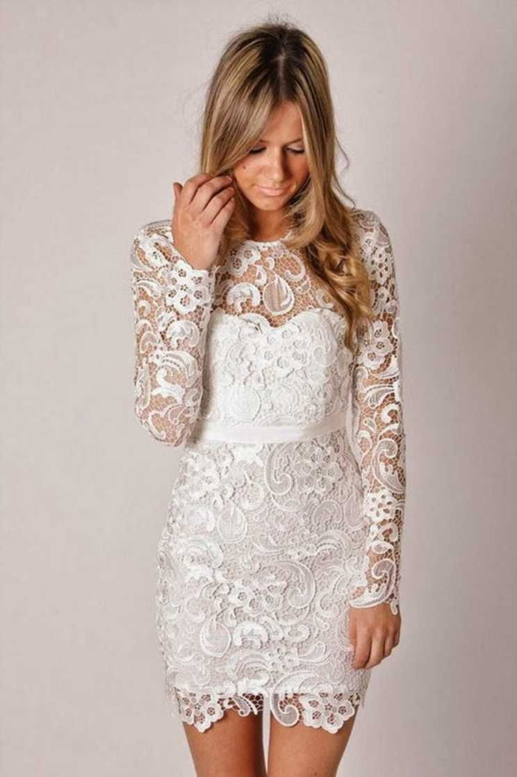 Short lace wedding dress with sleeves  white lace short wedding dress  Weddings  Pinterest  Short lace
