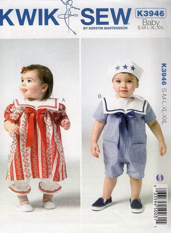 Free Us Ship Sewing Pattern Kwik Sew 3946 Baby Toddler Sailor Suit