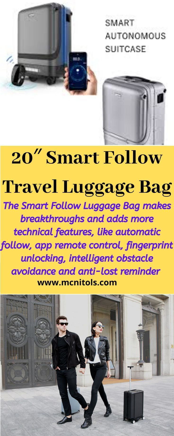 The Smart Follow Luggage Bag makes breakthroughs and adds more technical features, like automatic follow, app remote control, fingerprint unlocking, intelligent obstacle avoidance, anti-lost reminder and so on. Equipped with UWB high-accuracy location technology, as long as the bracelet is worn, the Smart Follow Luggage Bag will follow you. #luggage #travel #fashion #bags #bag #suitcase #holiday #smartluggagebag #followluggagebag #travelbag #shopping #travelling #travelgram #luggagebag