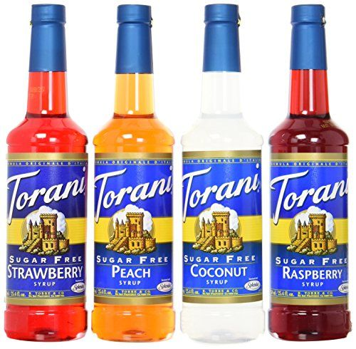 Torani Sugarfree Syrup Variety Pack Soda Flavors 4 Count Sf Strawberry Sf Peach Sf Coconut And Sf Raspberry You C Soda Flavors Sugar Free Syrup Lemonade Bar