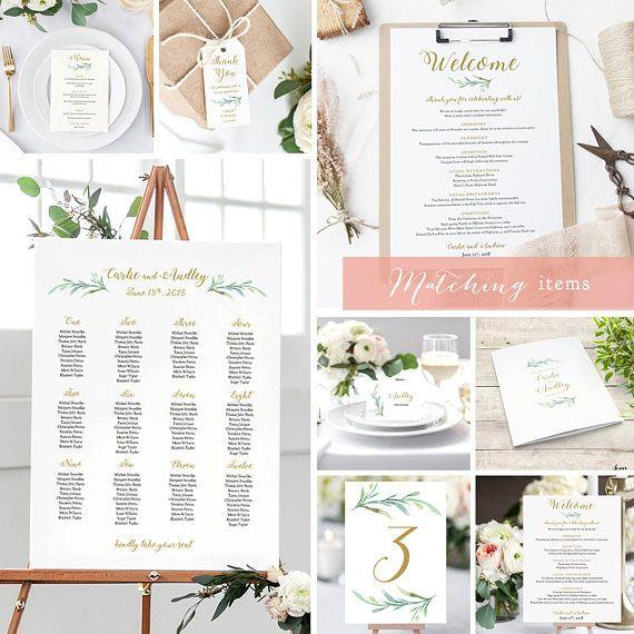 greenery wedding table names template printable reception table