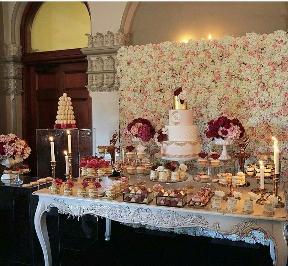 Flower Wall Dessert Table Sash Bows Events Flower Wall Wedding Cake Table Decorations Flower Wall Cake