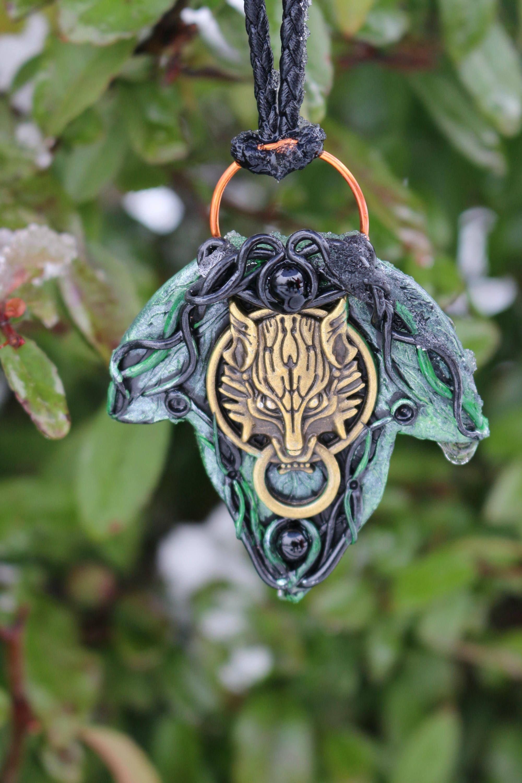 Nature wicca pendant Wiccan pendant Forest witch quartz pendant Rose quartz fantasy forest pendant Polymer clay celtic forest pendant