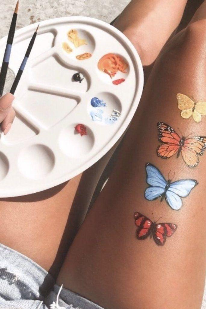 colorful butterfly art painting on legs mariposa monarch butterfly orange blue red yellow paint art acrylic leg skin vsco girl inspiration summer palette #art #painting #butterfly #vsco #makeup #outfits #homedecor #tattoos #trendy #wallpaper pinterest cute aesthetic tumblr vibes