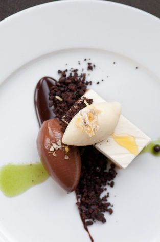 Chocolate Crémeux, Meyer Lemon Mousse, and Olive Oil Sorbet