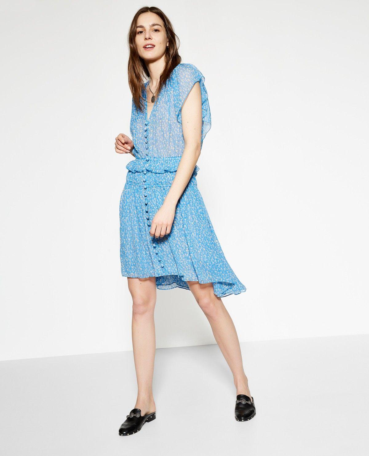be9c8547433 The Kooples Official Website - Blue Lagoon print blue silk muslin dress