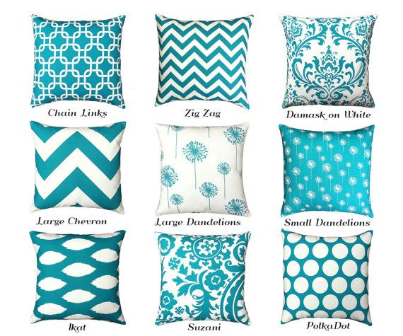 One Teal Pillow Cover 11 Sizes Available Turquoise By