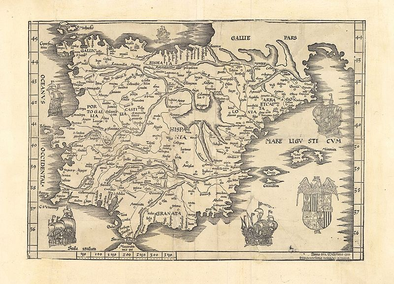 "Modern map ( ""nova tabula"") of the Iberian peninsula published in 1499. Reproduced from a copy preserved in the Municipal Archives of Mérida. The toponymy is in Latin and Italian. The coat of arms is that of the Catholic Monarchs but with the peculiarity of showing the arms of Aragon-Sicily and Castile-Leon reversed regarding the most common representation. Source: Carmen Manso Porto, "" The map of Spain in times of the Catholic Monarchs "", Journal of Columbian Studies , 11 June 2015."