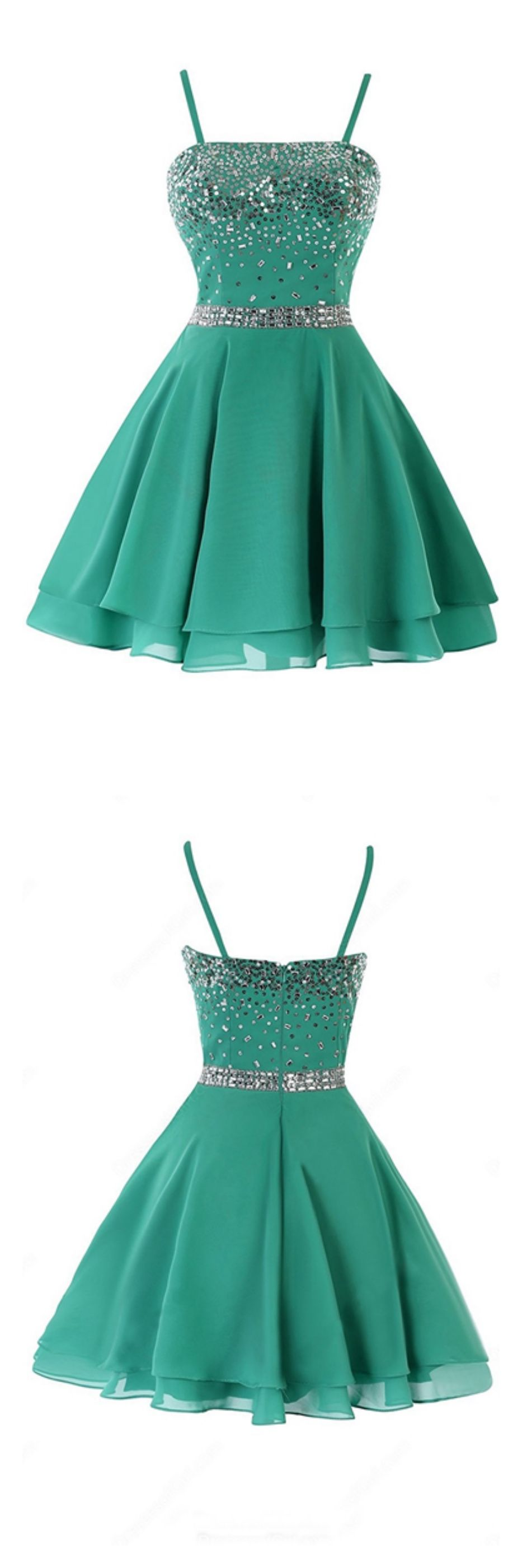 Green spaghetti straps layers homecoming dressesed in