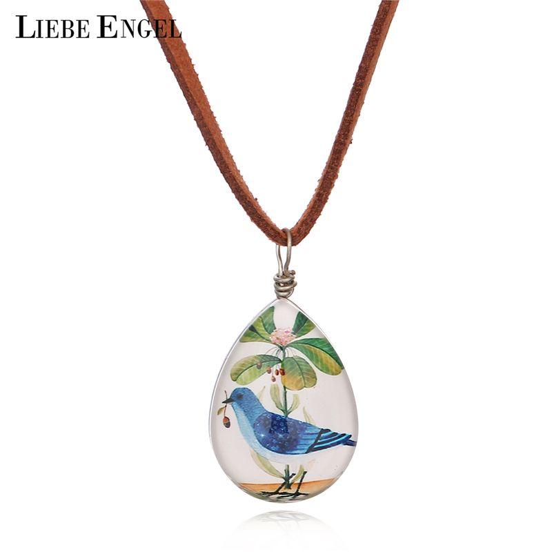 Liebe engel cadena de cuero de gamuza de moda en forma de lágrima de aves cuadro de doble cara cabochon de cristal colgante de collar de 2017