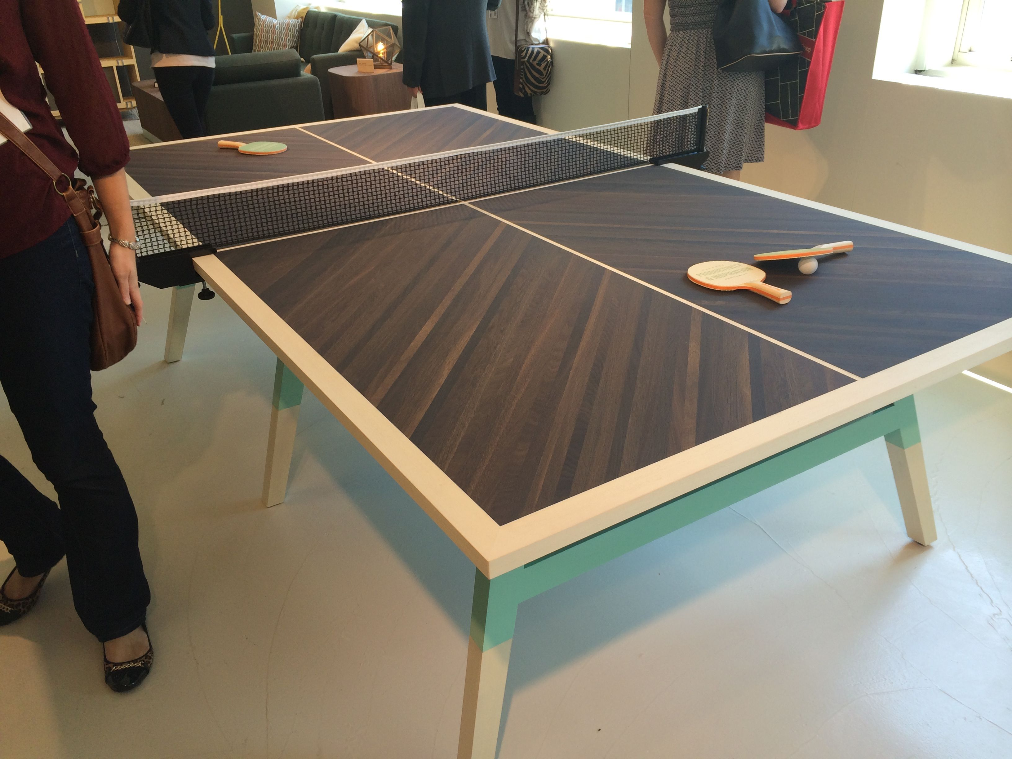 OFS custom veneer of conference table meets official Ping Pong