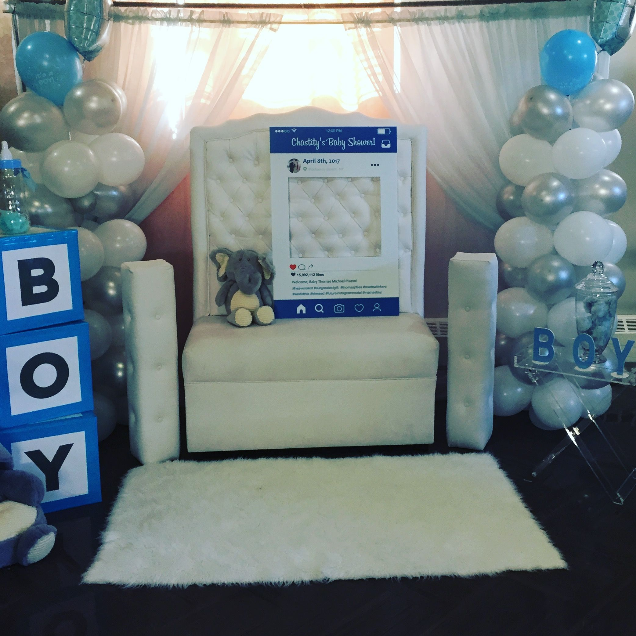 Elephant Baby Shower Chair, Facebook Selfie Frame Blue White and ...