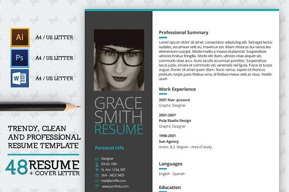 Resume Kit Trendy Clean Modern And Professional Resume Cv And