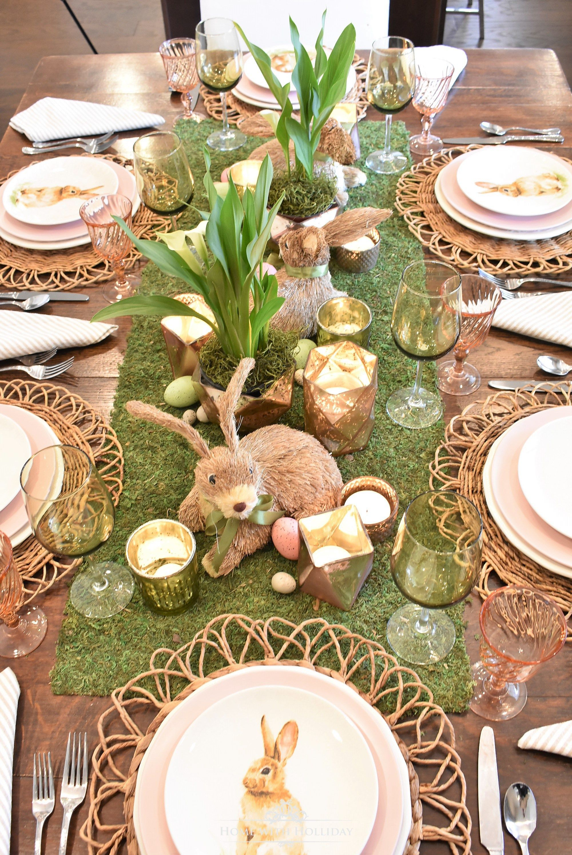 Green And Blush Pink Easter Table Setting Home With Holliday Easter Table Settings Easter Table Decorations Easter Centerpieces