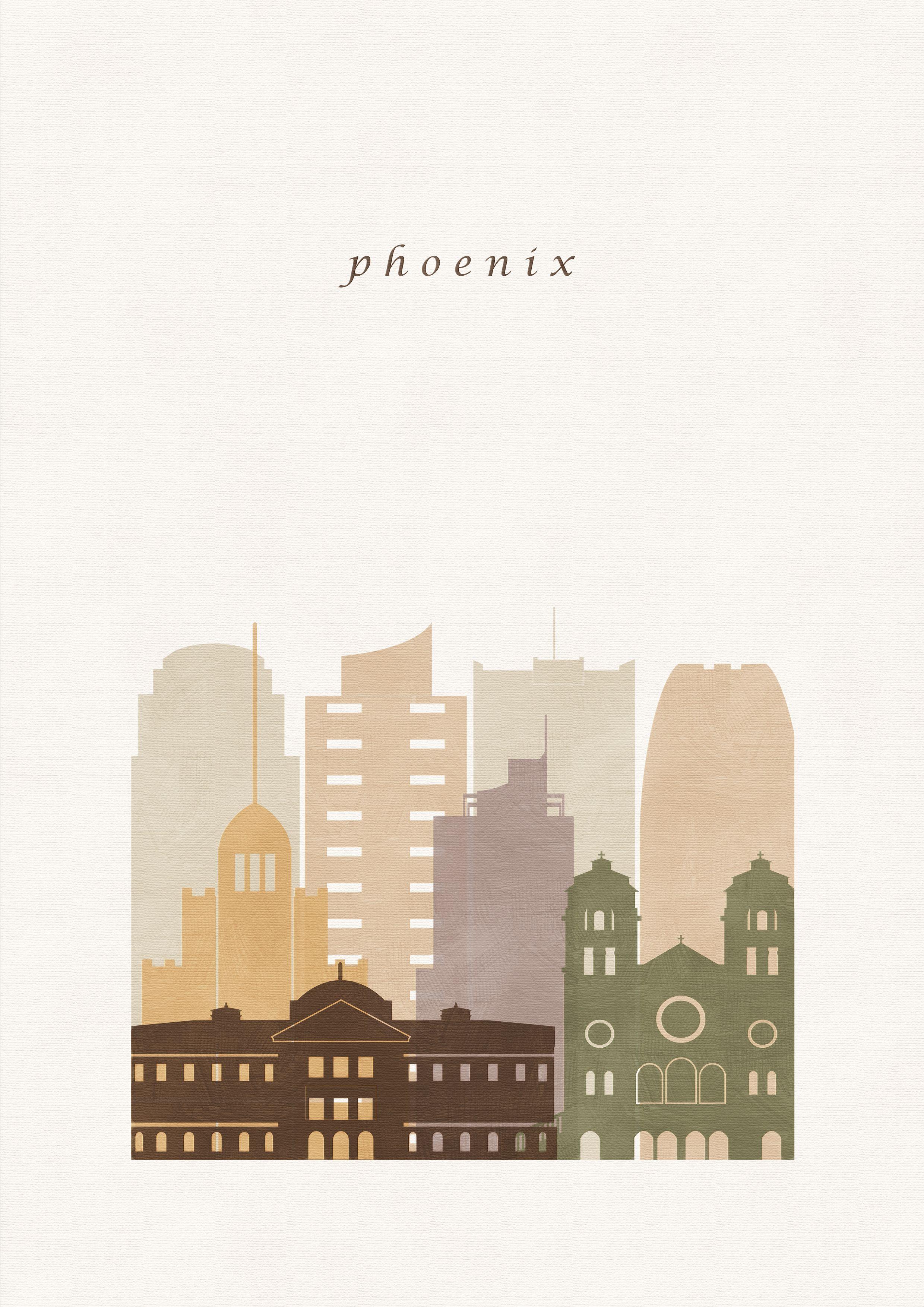 Phoenix print, Phoenix poster, Phoenix wall art, Phoenix skyline, skyline of Phoenix