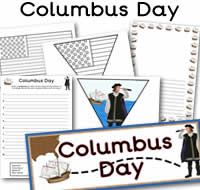 Lots Of Great Free Columbus Day Printables Columbus Day Themed Classroom Banners Acrostic Poem S With Images Elementary School Display Classroom Banner Holiday Lessons