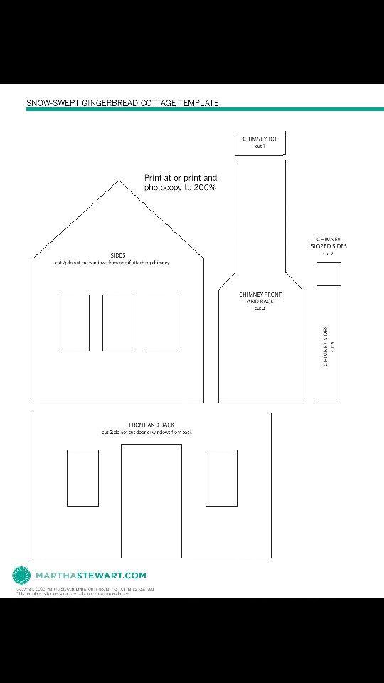 Martha Stewart Gingerbread House Template Plans With Images Gingerbread House Template Gingerbread House Gingerbread House Template Printable
