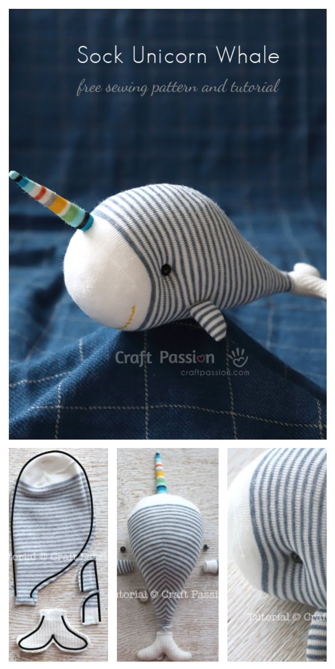 Sock Unicorn Whale   Nähen, Sockentiere und Kuscheltiere