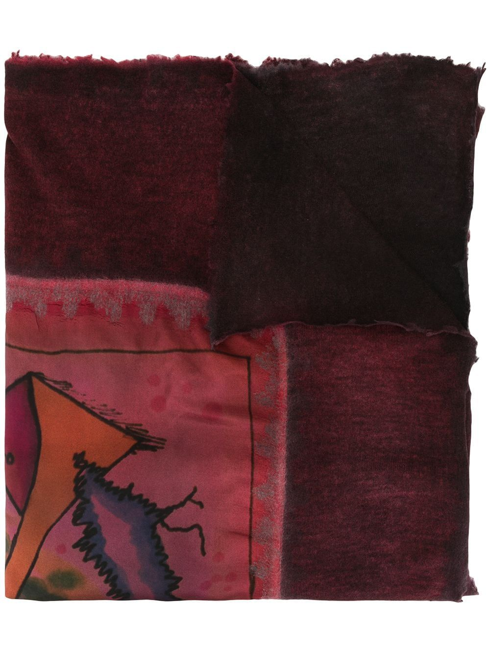 Multicoloured cashmere and silk blend contrast print scarf from Avant Toi featuring a fringed hem and a long length.