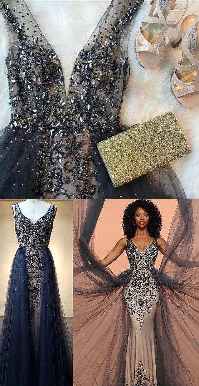 Charming modest unique fashion tulle with appliques navy prom dress