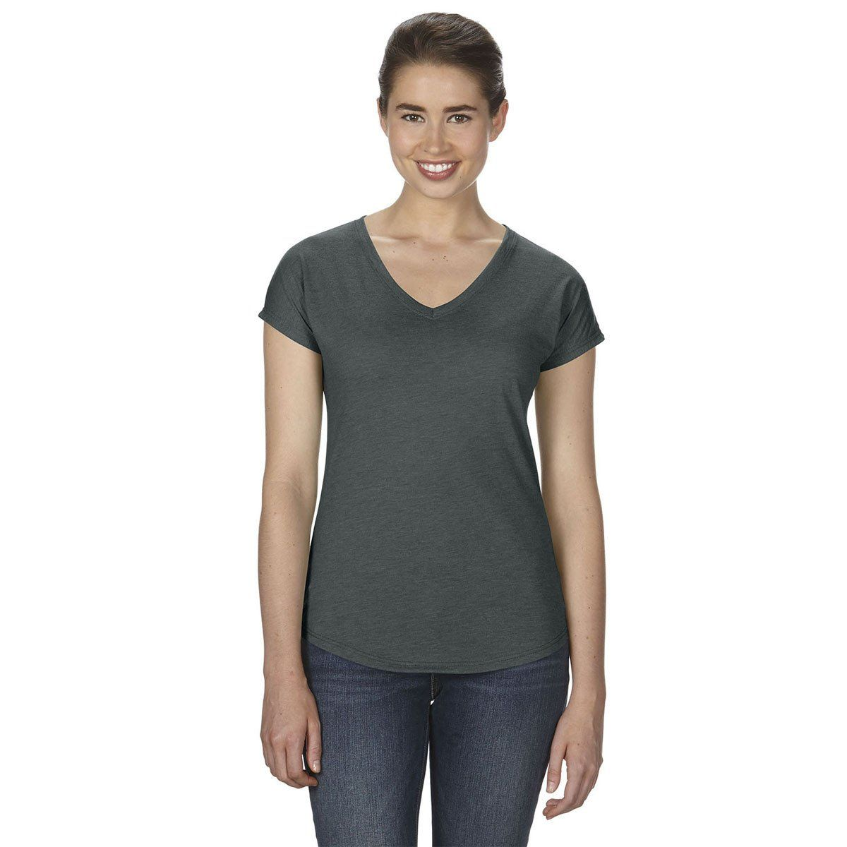 Anvil Womens Heather Dark Grey Triblend V Neck T Shirt Products