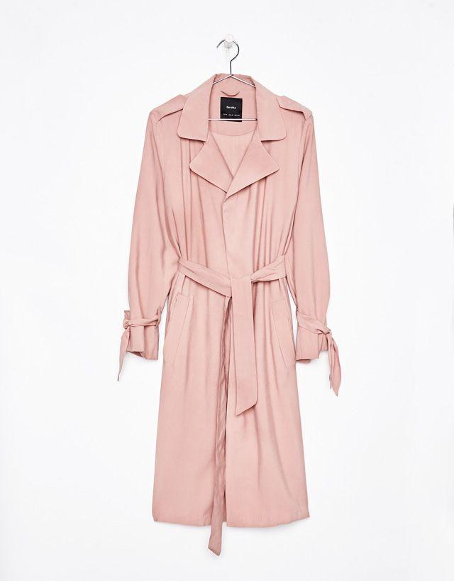 Lightweight pink trench coat - Bershka #lightweight #pink #trench #coat