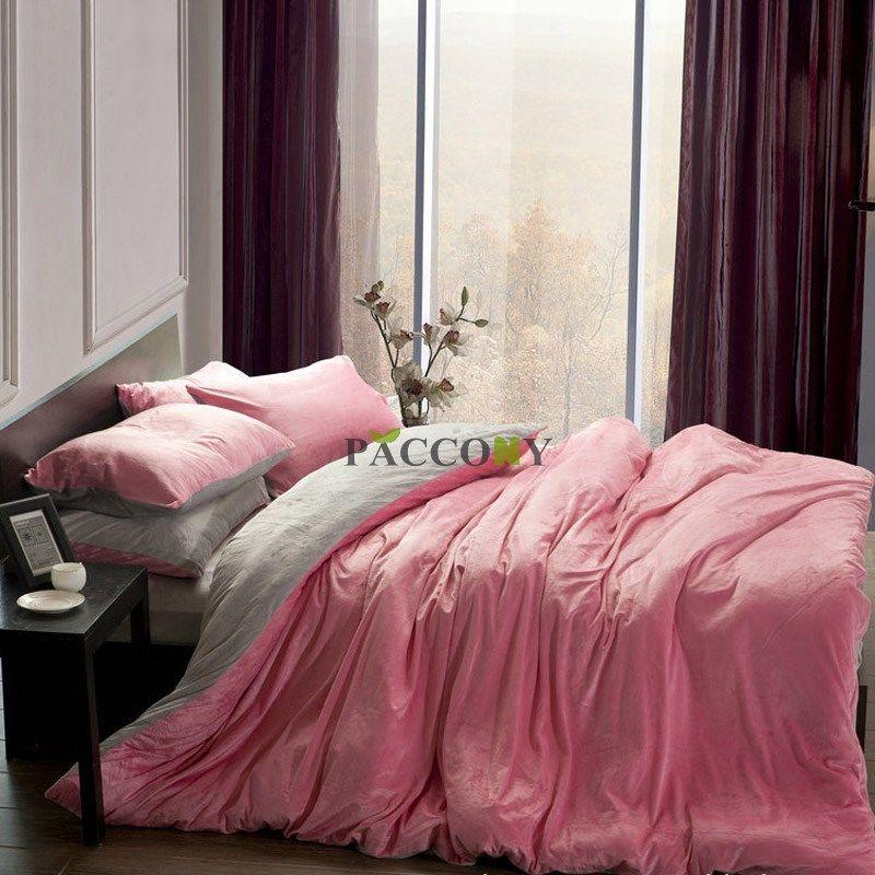 Best Pink And Gray Comforter Sets Solid Pink Grey Velvet 4 640 x 480