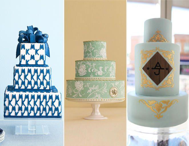 Monogrammed Wedding Cakes   15 Hot Wedding Cake Trends   https://www.theknot.com/content/wedding-cake-trends