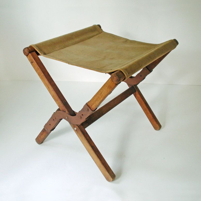Excellent Vintage Canvas And Wood Fold Up Army Stool Camping Stool Bralicious Painted Fabric Chair Ideas Braliciousco