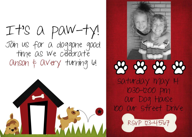 items similar to dog birthday invitation on etsy - Dog Birthday Party Invitations